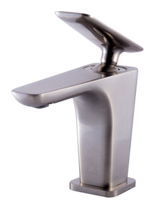 Brushed Nickel Single Hole Modern Bathroom Faucet