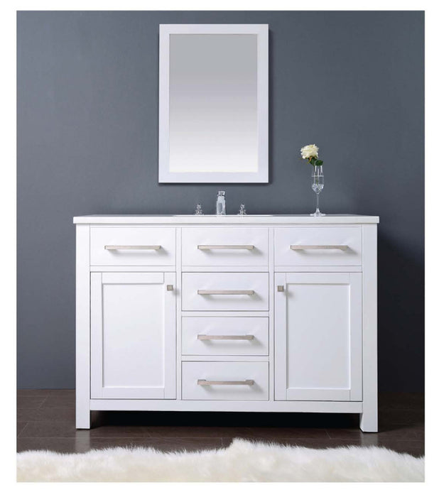 Dawn - Vanity Set: Counter Top (AAMT482135-01), Cabinet (AAMC482135-01) & Mirror (AAM2230-00), Pure White