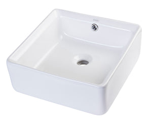 "15"" SQUARE CERAMIC ABOVE MOUNT BATHROOM BASIN VESSEL SINK"