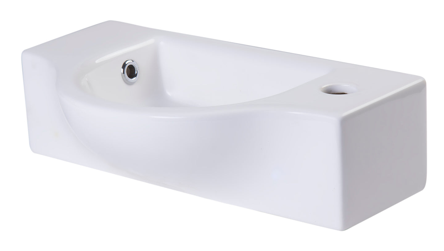 Small White Wall Mounted Ceramic Bathroom Sink Basin
