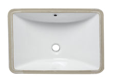 "White Ceramic 22""X15"" Undermount Rectangular Bathroom Sink"