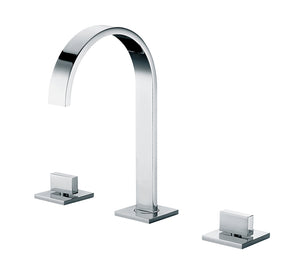 Polished Chrome Gooseneck Widespread Bathroom Faucet