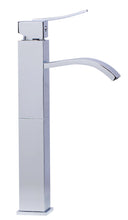 Tall Polished Chrome Tall Square Body Curved Spout Single Lever Bathroom Faucet