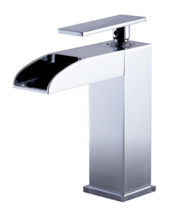 Polished Chrome Single Hole Waterfall Bathroom Faucet