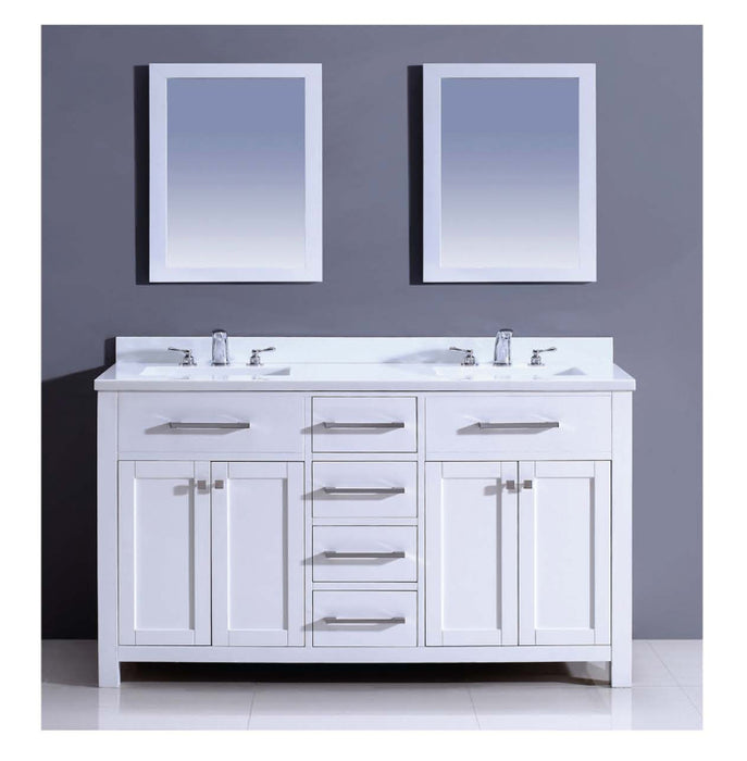 Dawn - Vanity Set: Counter Top (AAMT602135-01), Cabinet (AAMC602135-01), & 2 Mirrors (AAM2230-00), pure white