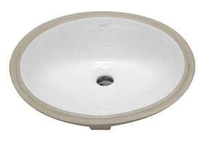 "White Ceramic 18""X15"" Undermount Oval Bathroom Sink"