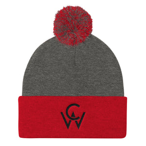 CW Pom Pom Knit Cap Dark Heather Grey/ Red