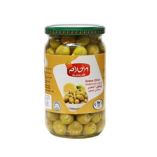زيتون اخضر محشي بالليمون 900 غ زجاج | lemon stuffed green olives 900g
