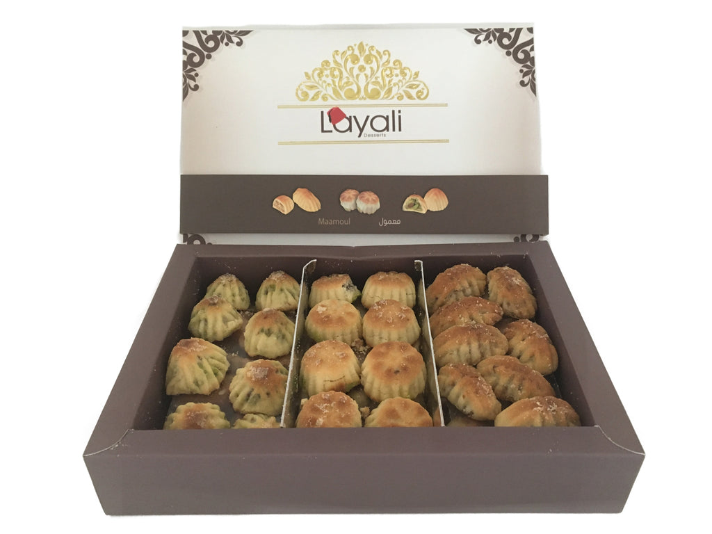 معمول مشكل (تمر,فستق, جوز) 500غ   Mixed maamoul (dates, pistachios,walnuts) 500g WS*20