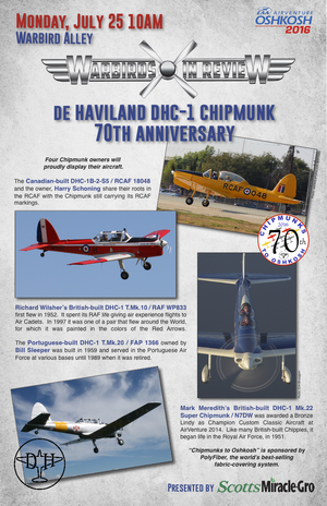 Warbirds on Review 2016  DE Havilland DHC-1 Chipmunk 70th Anniversary