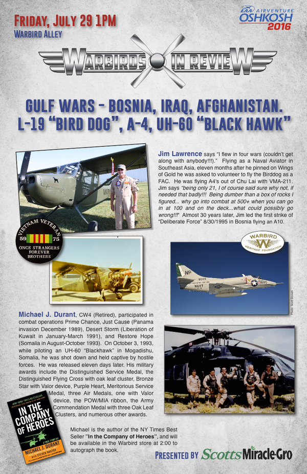 "Warbirds in Review 2016 Gulf Wars - Bosnia, Iraq, Afghanistan.  L-19 ""Bird Dog"", A-4, UH-60 ""Black Hawk"""