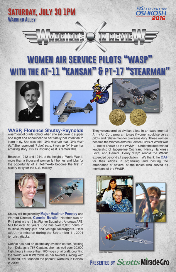 "Warbirds in Review 2016 Women Air Service Pilots ""WASPS"" with the AT-11 ""Kansan"" & PT-17 Stearman"""