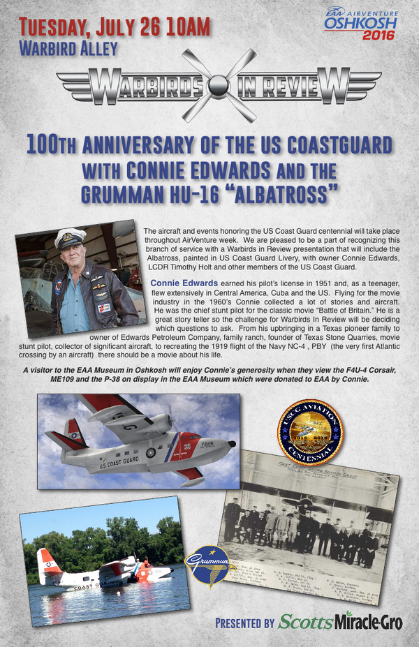 "Warbirds in Review 2016  100th Anniversary of the US Coastguard with Connie Edwards and the Grumman HU-16 ""Albatross"""