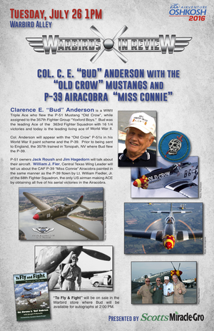 "Warbirds in Review 2016 Col. C. E. ""Bud"" Anderson with the ""Old Crow"" Mustangs and P-38 Airacobra ""Miss Connie"""