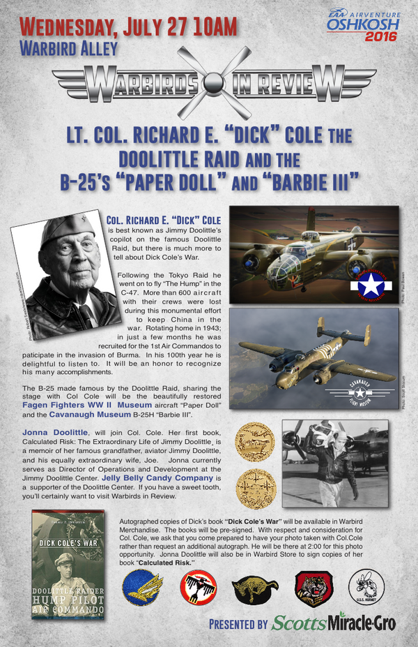 "Warbirds in Review 2016 Lt. Col. Richard E. ""Dick"" Cole the Doolittle Raid and the B-25's ""Paper Doll"" and ""Barbie III"""