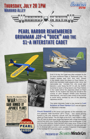 "Warbirds in Review 2016 Pearl Harbor Remembered Grumman J1F-4 ""Duck"" and the S1-A Interstate Cadet"