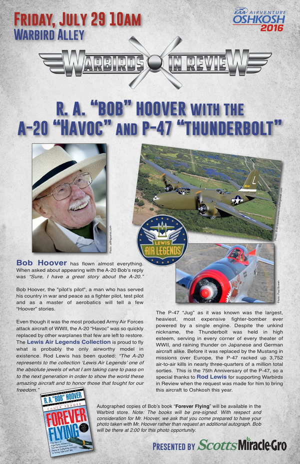 "Warbirds in Review 2016 R. A. ""Bob"" Hoover with the A-20 ""Havoc"" and P-47 ""Thunderbolt"""