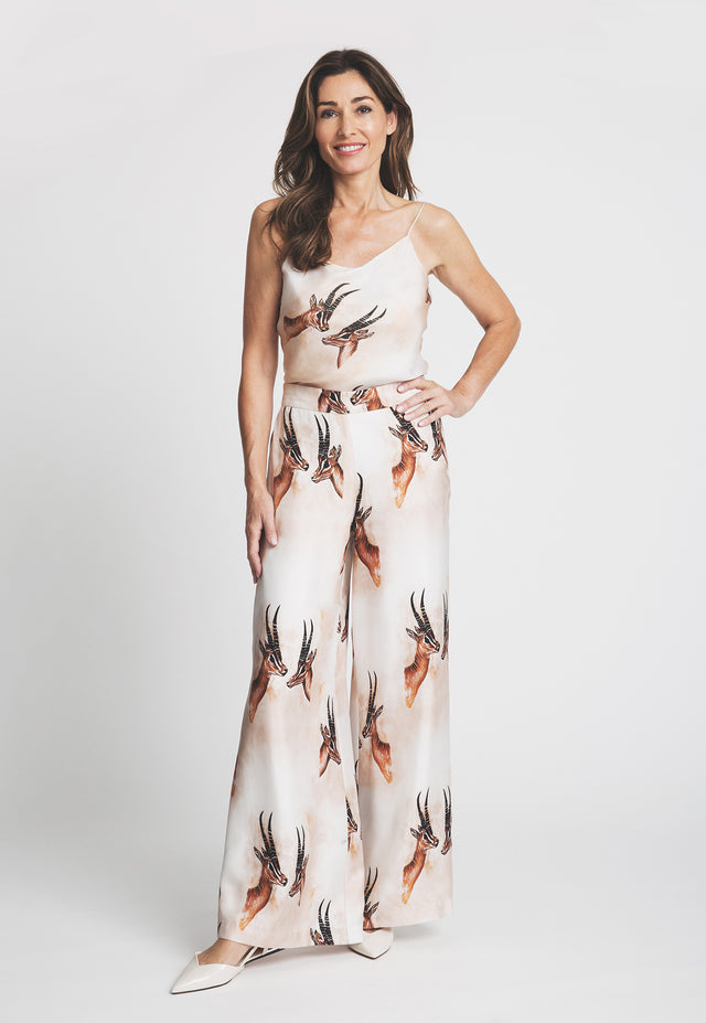 Antonia Pant in Horn paired with Belinda camisole front view