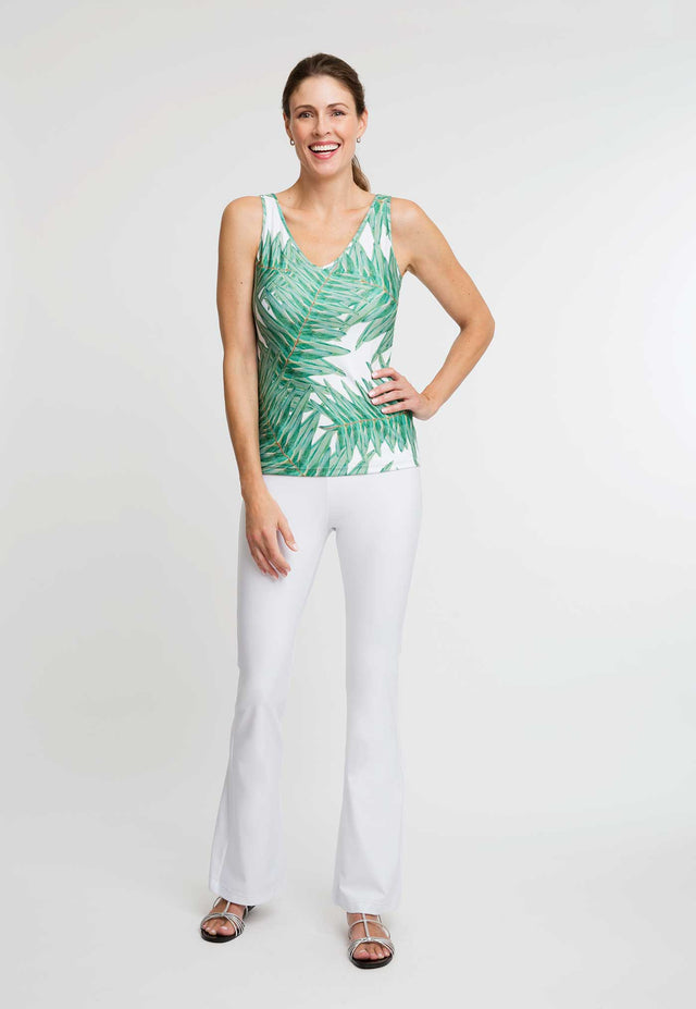 Agnes Tank Top in Queen Palm front view