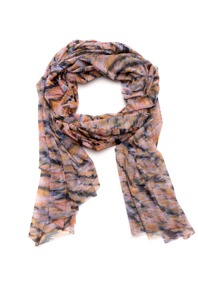 pink orange and black tiger striped mesh scarf wrap