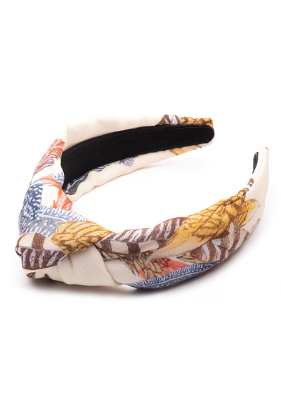 cotton beige feather printed headband accessory