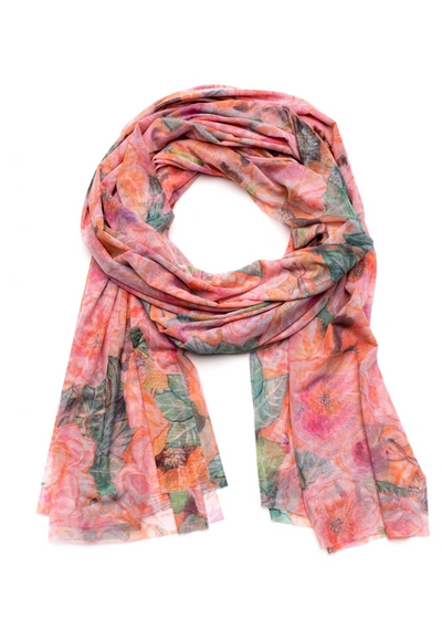 Pink flower mesh printed long scarf wrap