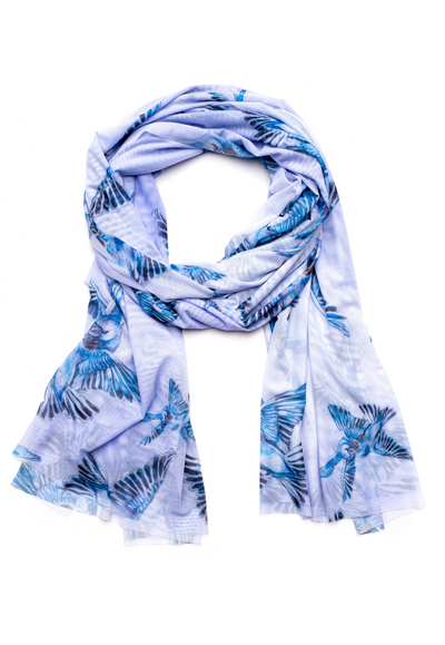 long blue bird printed mesh scarf wrap