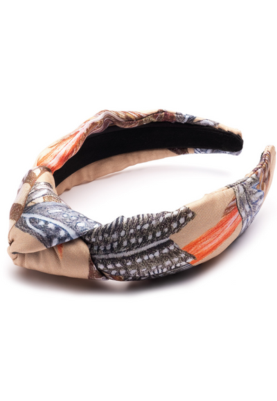silk beige feather printed headband accessory