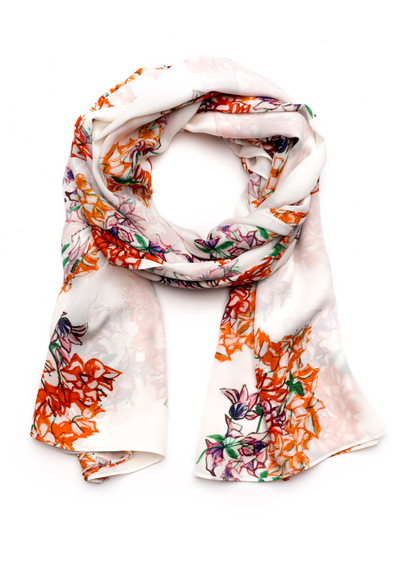 silk white and orange flower printed long scarf wrap