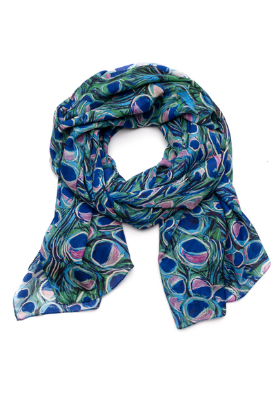 long blue peacock printed silk scarf wrap