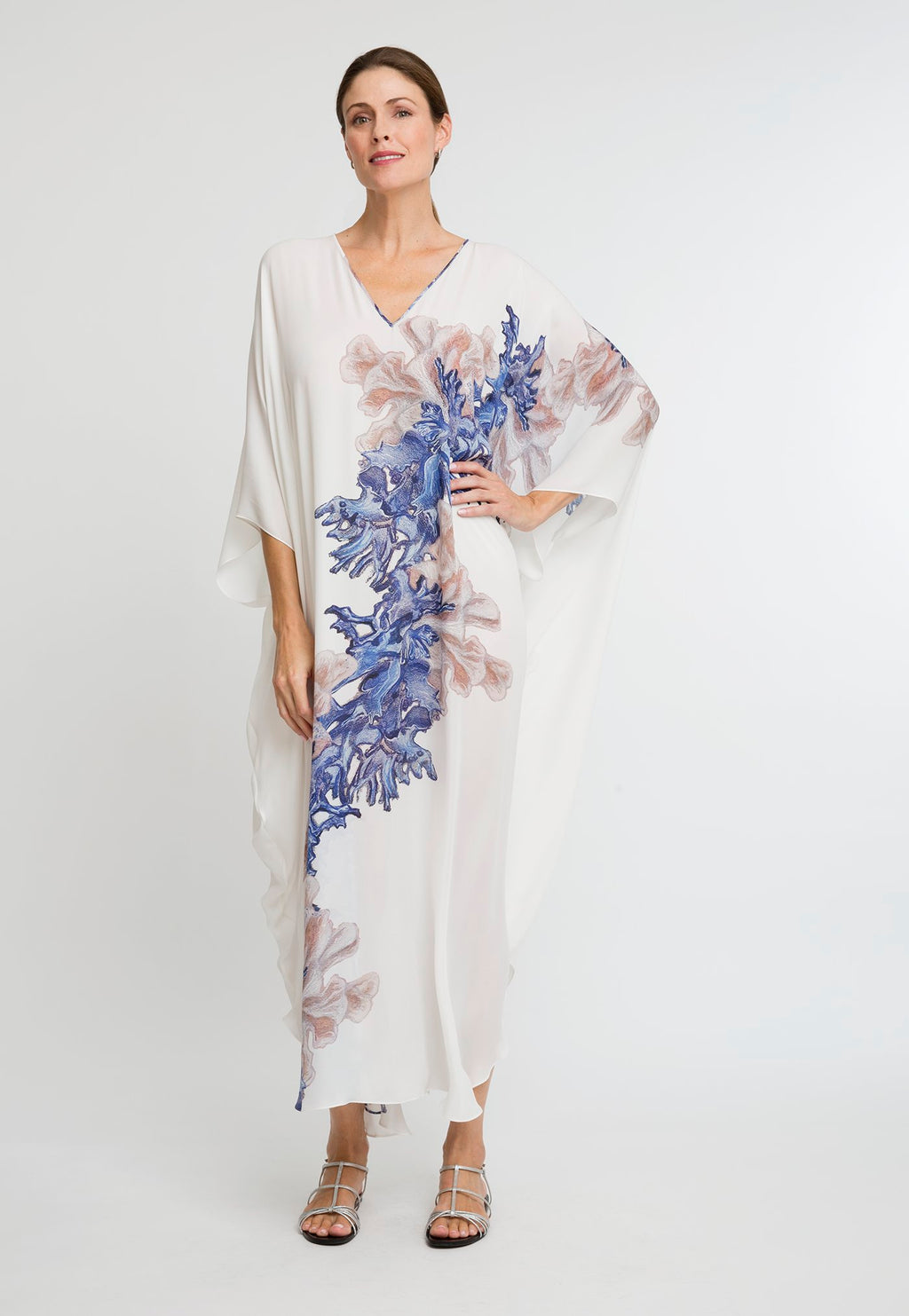 Alma Kaftan in Blue Coral front view