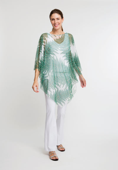 mesh palm tree printed poncho over stretch knit white tank top and stretch knit white pants