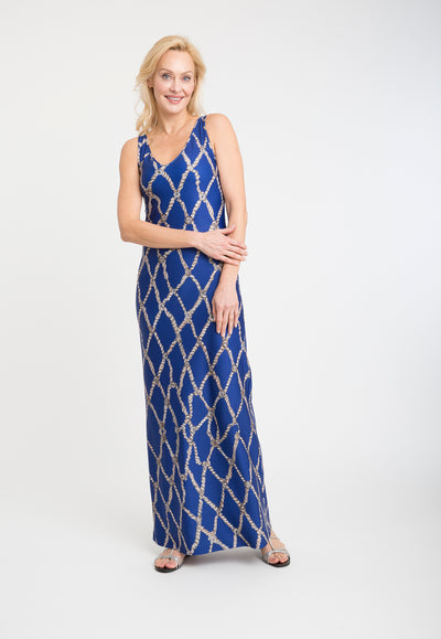 blue rope printed stretch knit long dress
