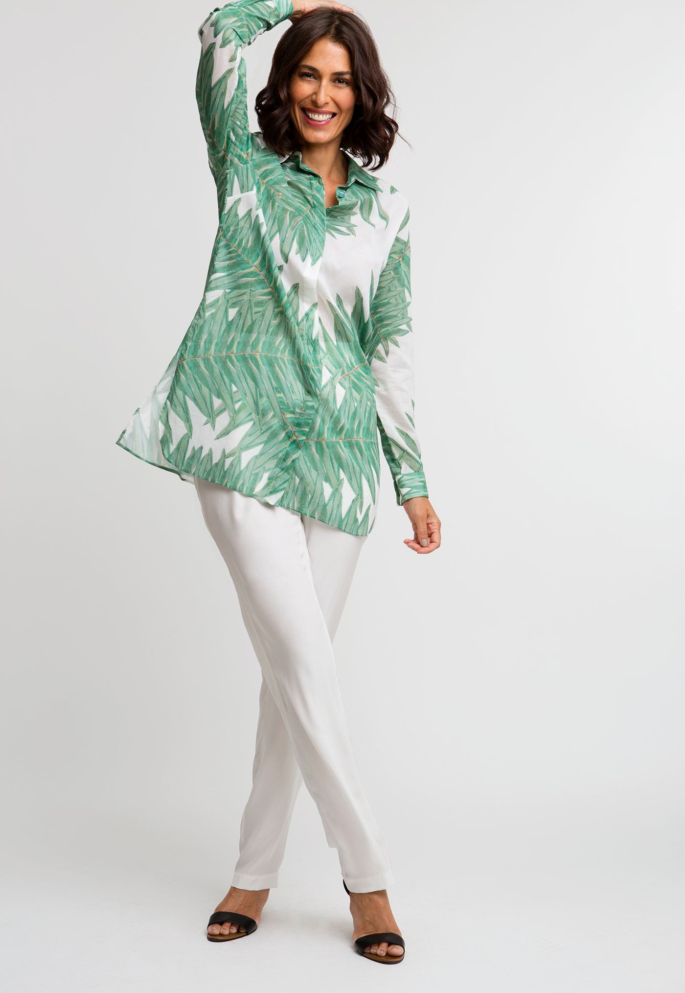 Ala Blouse in Queen Palm front view