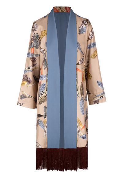 silk robe jacket with tan flower print and blue lining with fringe