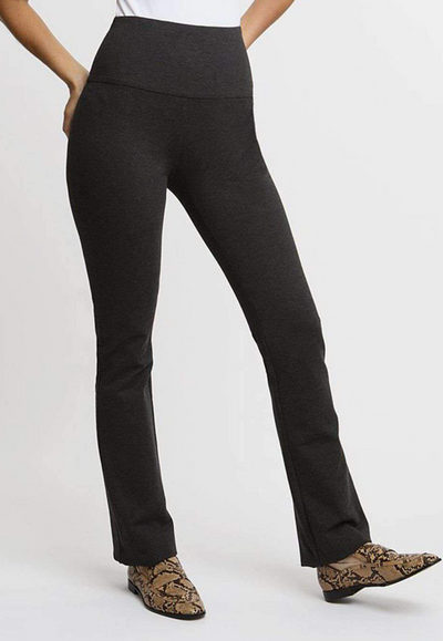 black suede straight leg pants