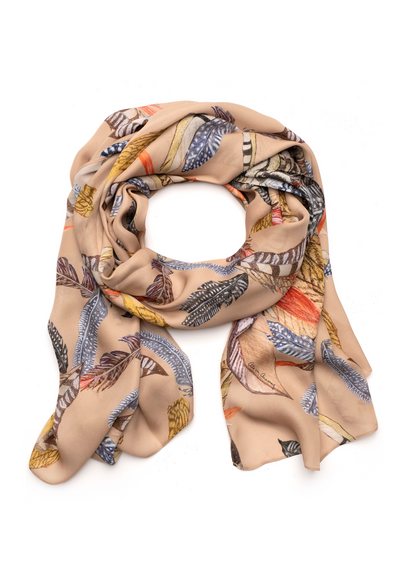 silk beige feather printed long scarf shawl wrap