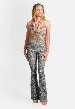 Model wearing the Jagger Pant in Dotted Pheasant by Ala von Auersperg