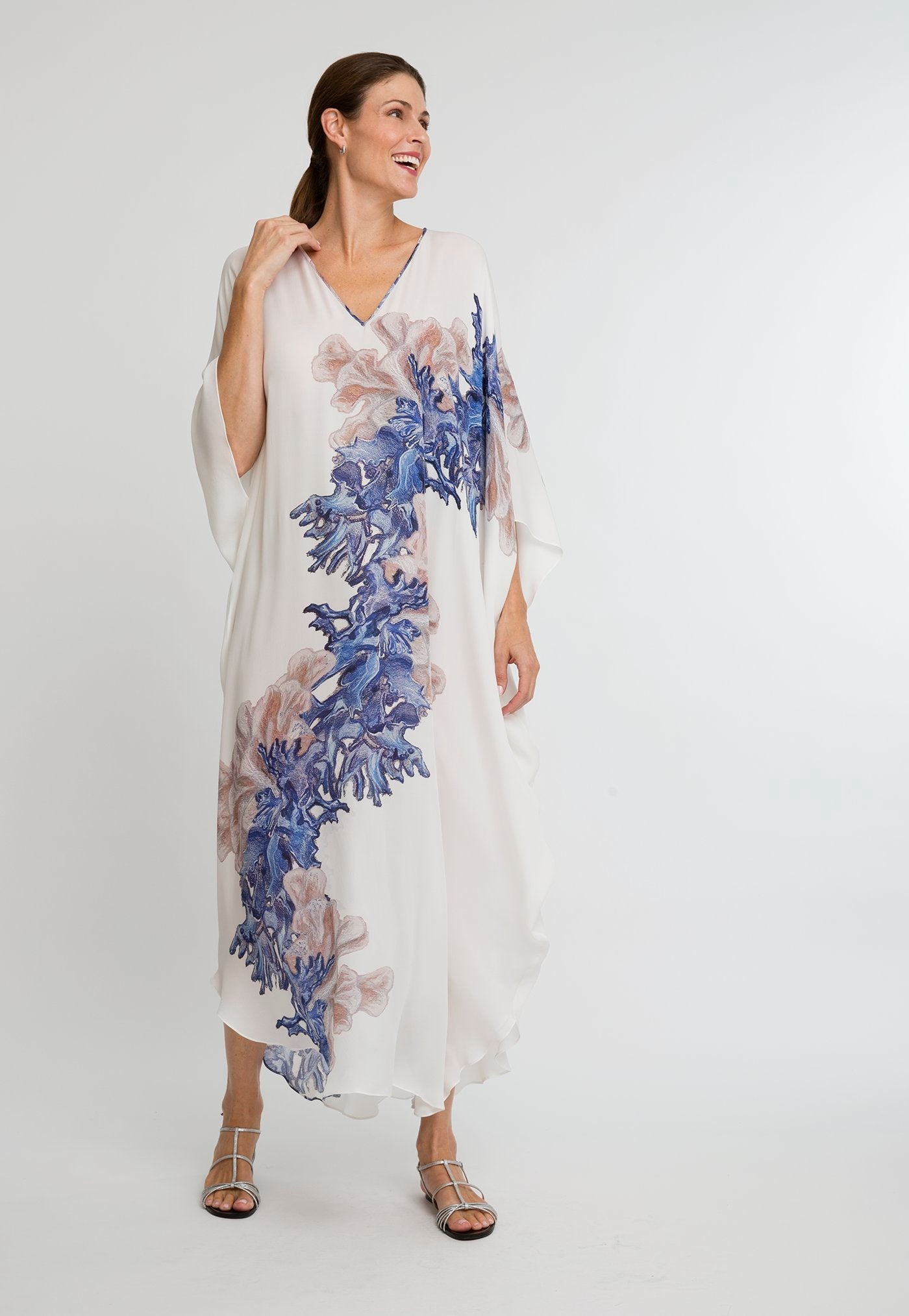 Alma Kaftan in Blue Coral