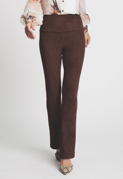 brown suede stretch pants