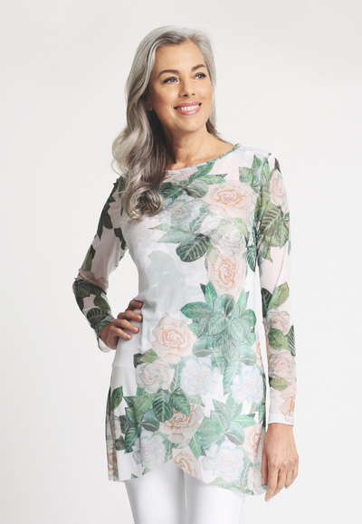 Mesh gardenia flower printed long sleeve crew neck top blouse