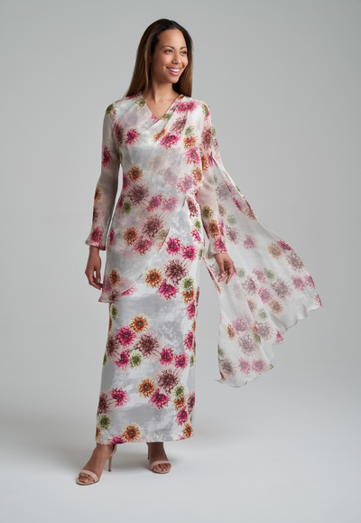 Woman earring silk dahlia flower printed long dress with silk layer