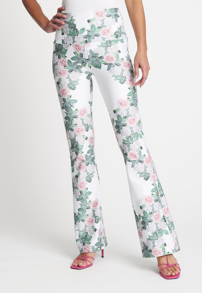 Gardenia flower printed stretch knit pants