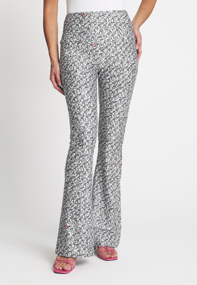 black and white stretch knit pants