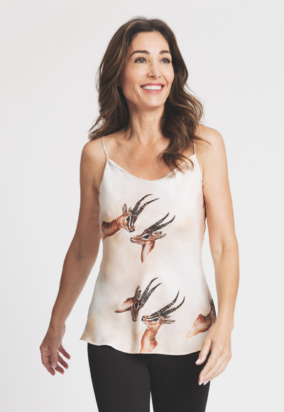 silk camisole with antelope print