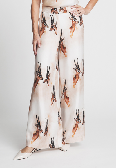 silk bellowed pant trouser with antelope print