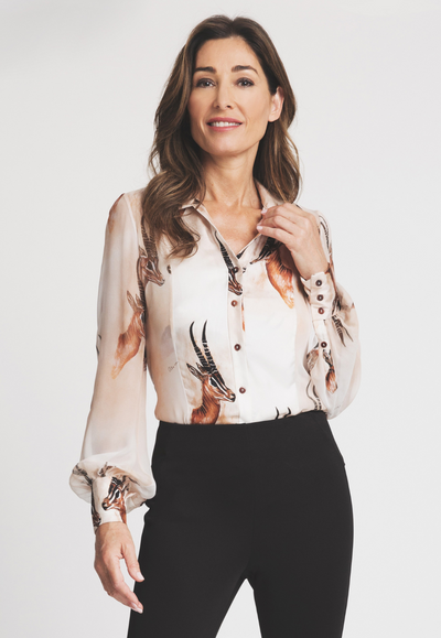 silk bellowed sleeve blouse with antelope print