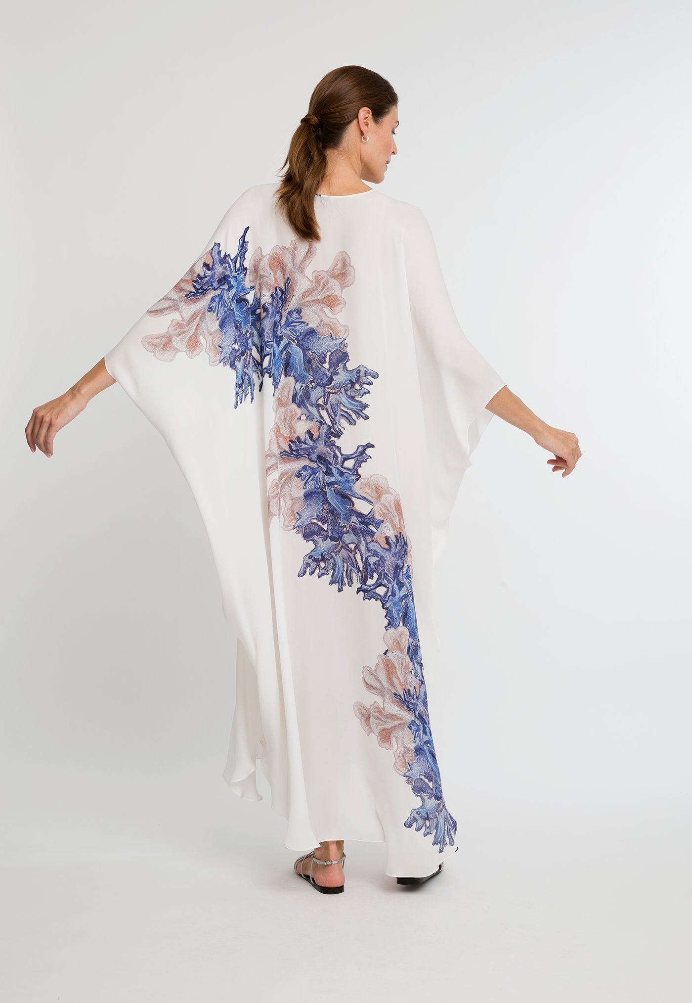 Alma Kaftan in Blue Coral back view