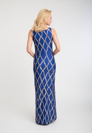 Lavinia Long Dress in Sea Rope back view