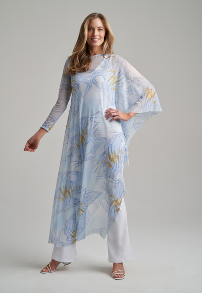 Model wearing yellow and blue feather printed one sleeved mesh kaftan